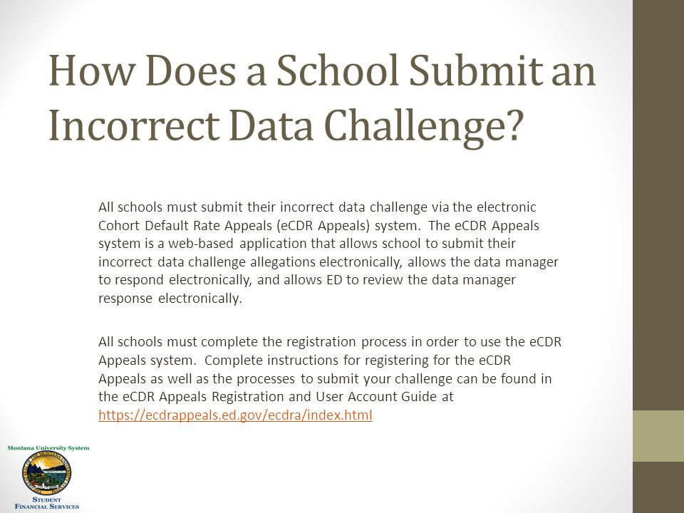 How Does a School Submit an Incorrect Data Challenge.