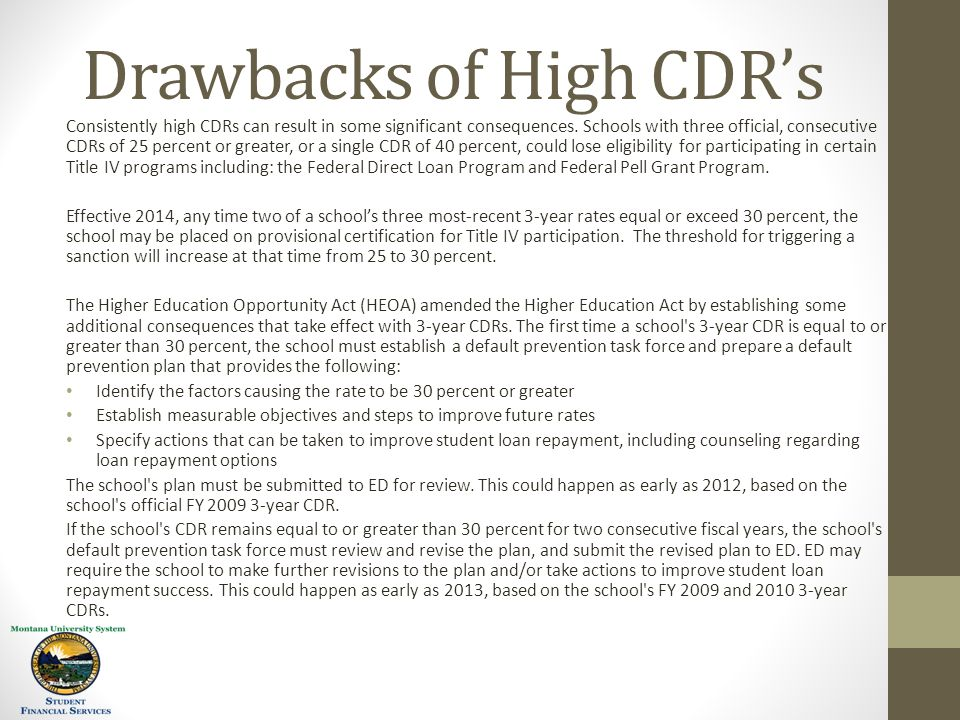 Drawbacks of High CDR's Consistently high CDRs can result in some significant consequences.