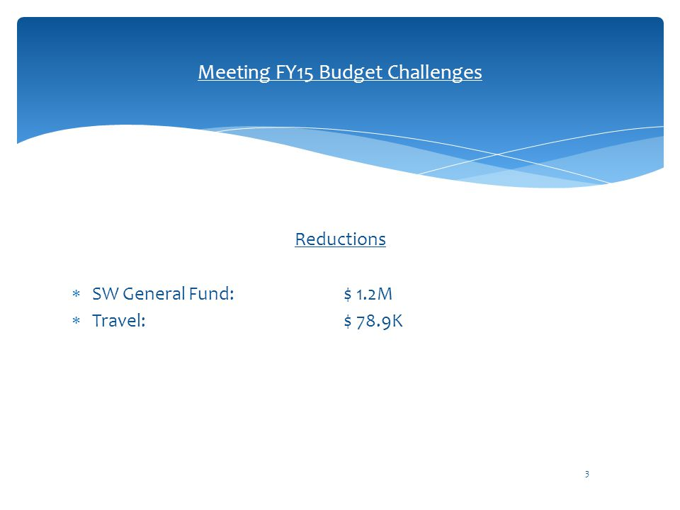Reductions  SW General Fund: $ 1.2M  Travel: $ 78.9K 3 Meeting FY15 Budget Challenges