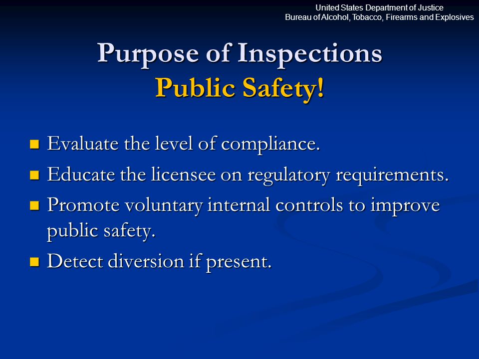 United States Department of Justice Bureau of Alcohol, Tobacco, Firearms and Explosives Purpose of Inspections Public Safety.