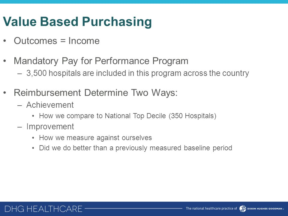 Value Based Purchasing Outcomes = Income Mandatory Pay for Performance Program –3,500 hospitals are included in this program across the country Reimbu