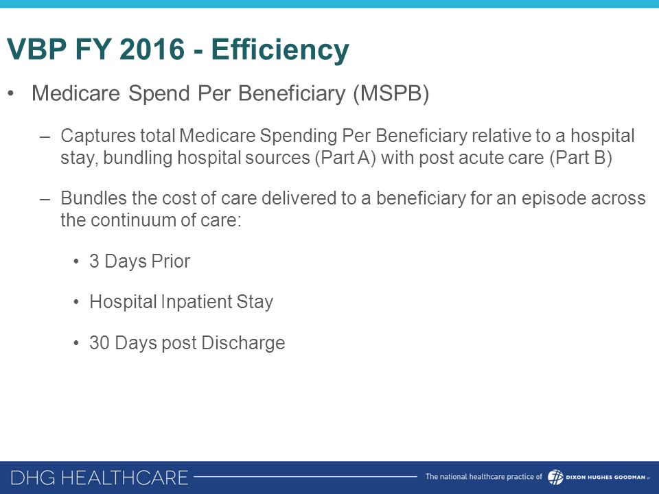 VBP FY 2016 - Efficiency Medicare Spend Per Beneficiary (MSPB) –Captures total Medicare Spending Per Beneficiary relative to a hospital stay, bundling hospital sources (Part A) with post acute care (Part B) –Bundles the cost of care delivered to a beneficiary for an episode across the continuum of care: 3 Days Prior Hospital Inpatient Stay 30 Days post Discharge