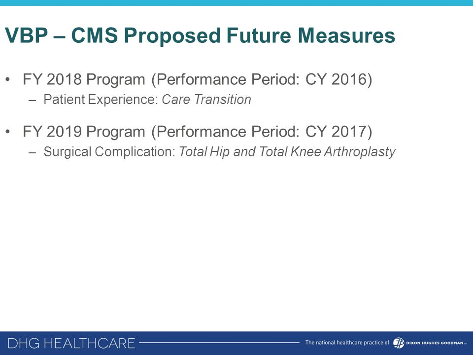 VBP – CMS Proposed Future Measures FY 2018 Program (Performance Period: CY 2016) –Patient Experience: Care Transition FY 2019 Program (Performance Per