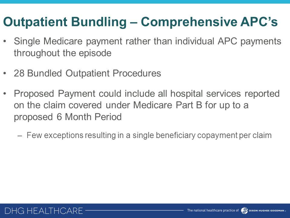 Outpatient Bundling – Comprehensive APC's Single Medicare payment rather than individual APC payments throughout the episode 28 Bundled Outpatient Pro