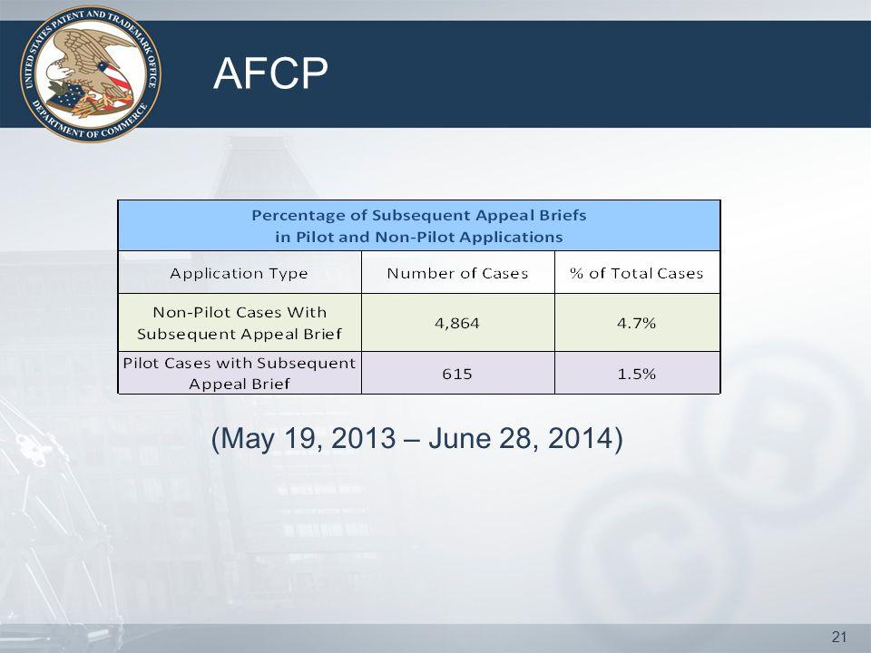 AFCP 21 (May 19, 2013 – June 28, 2014)