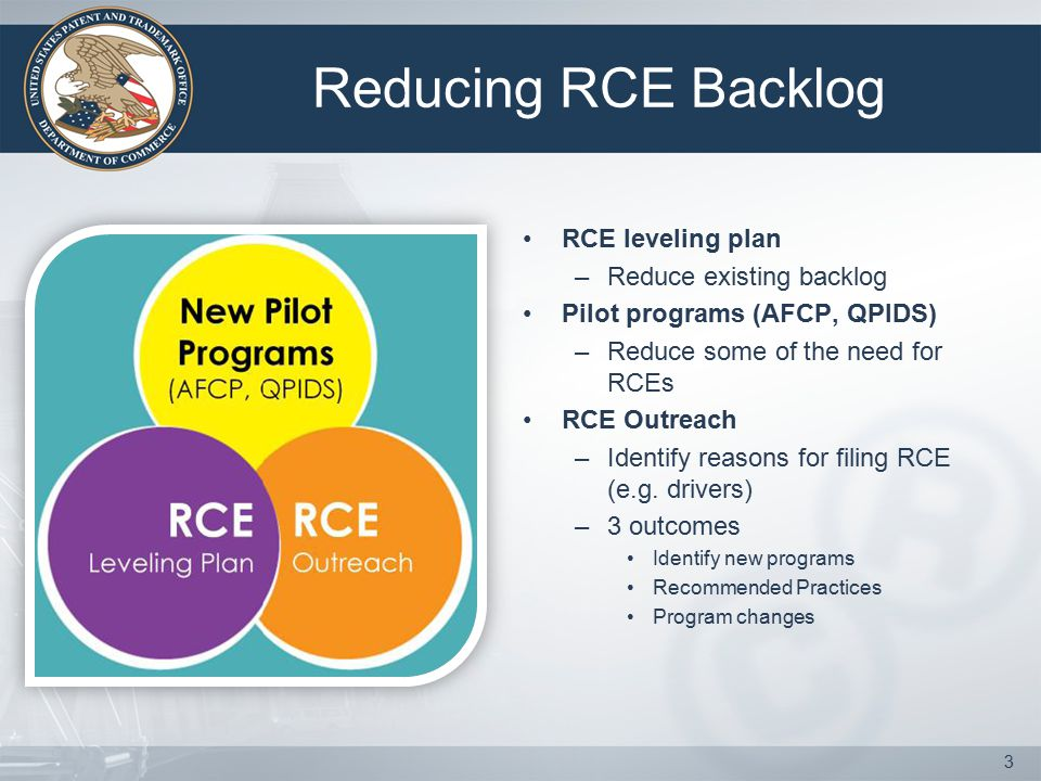 Reducing RCE Backlog RCE leveling plan –Reduce existing backlog Pilot programs (AFCP, QPIDS) –Reduce some of the need for RCEs RCE Outreach –Identify reasons for filing RCE (e.g.
