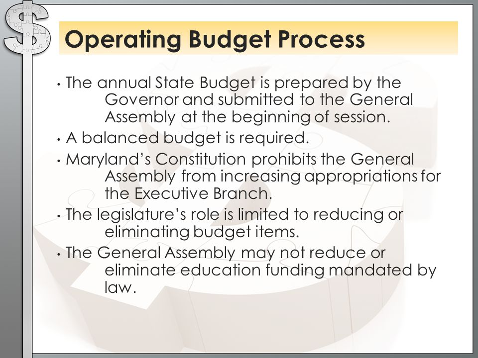 The annual State Budget is prepared by the Governor and submitted to the General Assembly at the beginning of session.