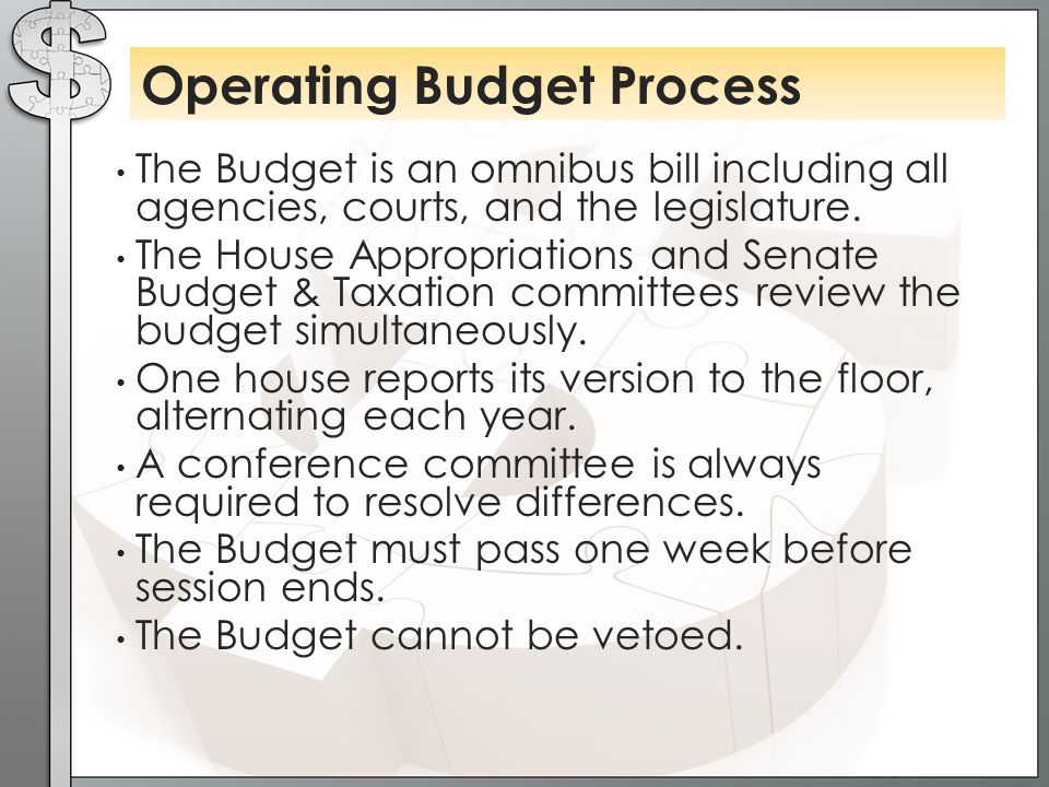 The Budget is an omnibus bill including all agencies, courts, and the legislature.