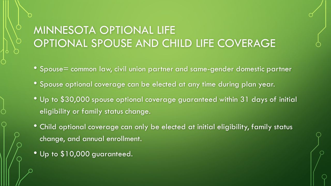 MINNESOTA OPTIONAL LIFE OPTIONAL SPOUSE AND CHILD LIFE COVERAGE Spouse= common law, civil union partner and same-gender domestic partner Spouse= commo