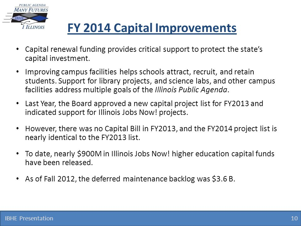FY 2014 Capital Improvements Capital renewal funding provides critical support to protect the state's capital investment. Improving campus facilities