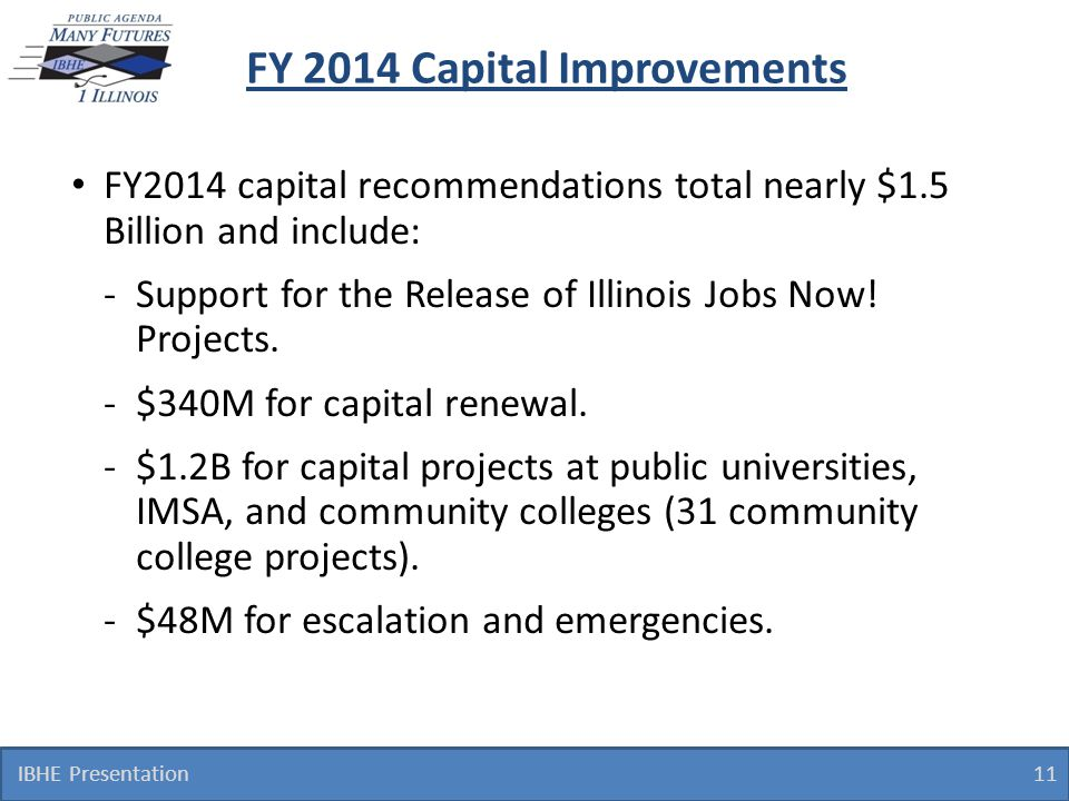 FY 2014 Capital Improvements FY2014 capital recommendations total nearly $1.5 Billion and include: -Support for the Release of Illinois Jobs Now! Proj