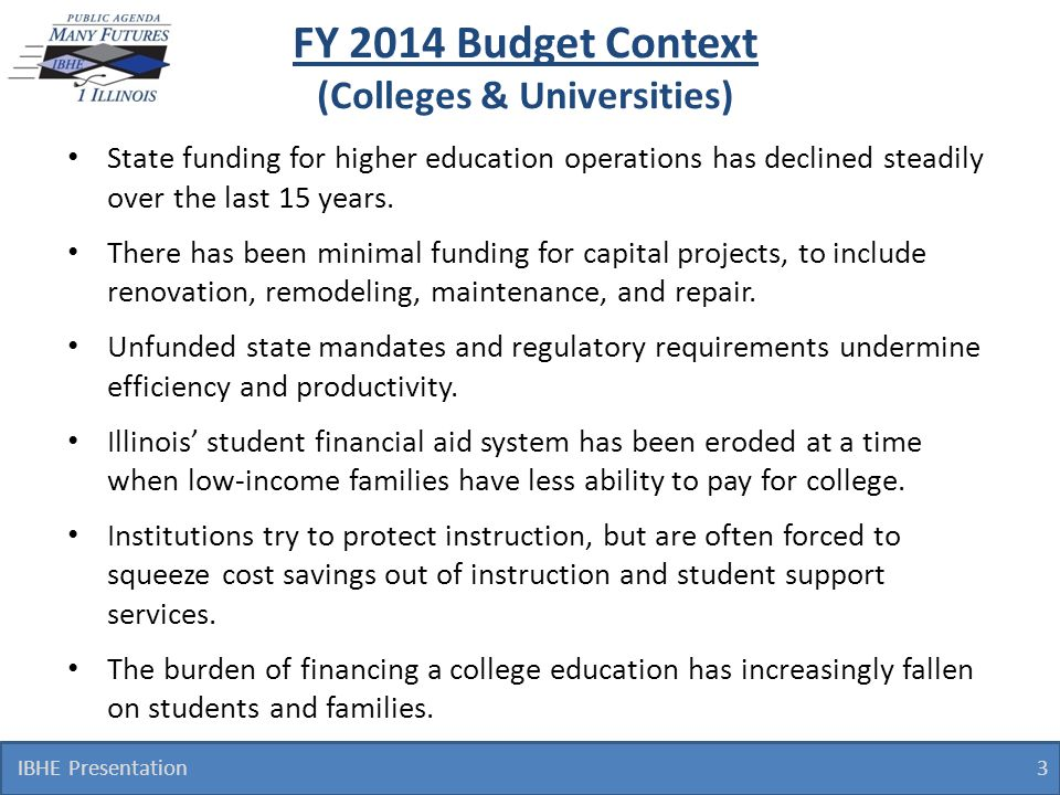 FY 2014 Budget Context (Colleges & Universities) State funding for higher education operations has declined steadily over the last 15 years. There has
