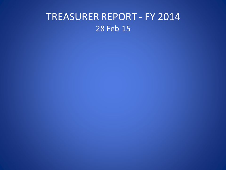 TREASURER REPORT - FY 2014 28 Feb 15