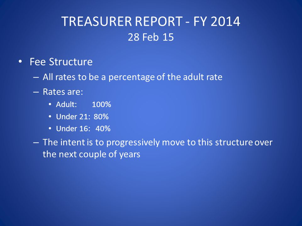 TREASURER REPORT - FY 2014 28 Feb 15 Fee Structure – All rates to be a percentage of the adult rate – Rates are: Adult: 100% Under 21: 80% Under 16: 40% – The intent is to progressively move to this structure over the next couple of years