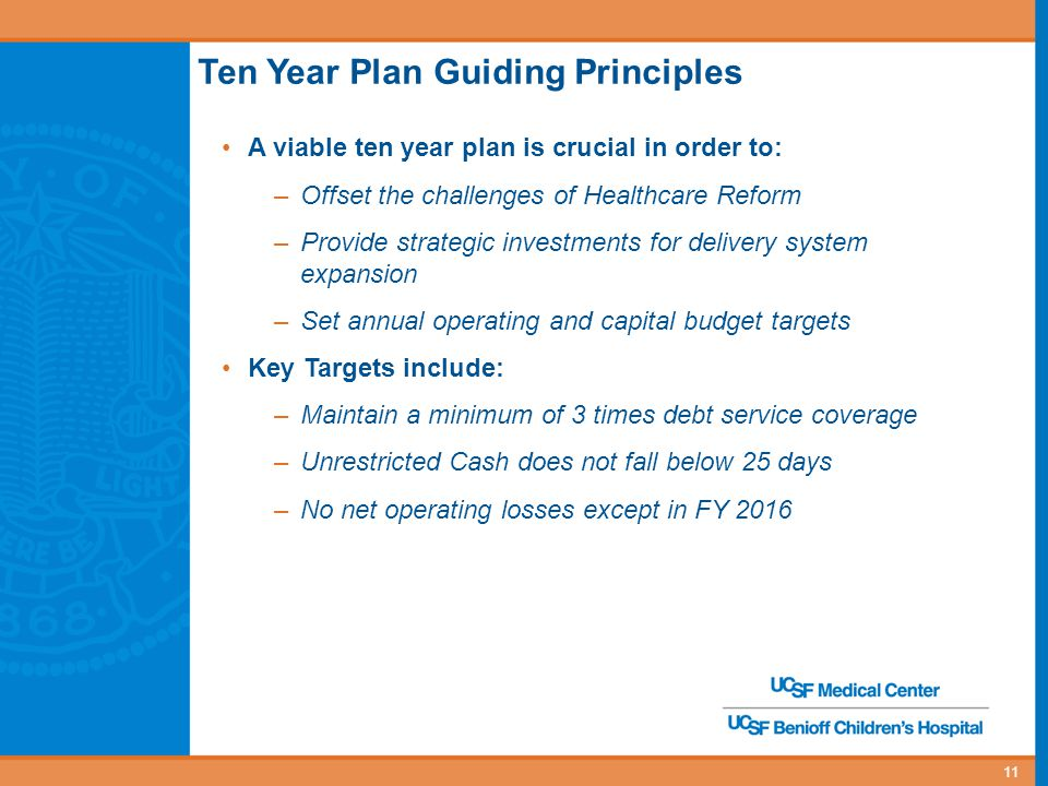11 Ten Year Plan Guiding Principles A viable ten year plan is crucial in order to: –Offset the challenges of Healthcare Reform –Provide strategic investments for delivery system expansion –Set annual operating and capital budget targets Key Targets include: –Maintain a minimum of 3 times debt service coverage –Unrestricted Cash does not fall below 25 days –No net operating losses except in FY 2016