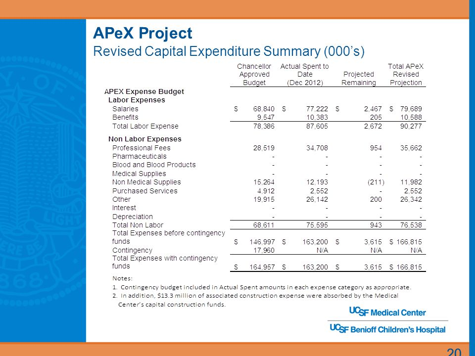 20 APeX Project Revised Capital Expenditure Summary (000's)