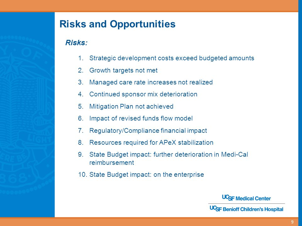 9 Risks and Opportunities Risks: 1.Strategic development costs exceed budgeted amounts 2.Growth targets not met 3.Managed care rate increases not realized 4.Continued sponsor mix deterioration 5.Mitigation Plan not achieved 6.Impact of revised funds flow model 7.Regulatory/Compliance financial impact 8.Resources required for APeX stabilization 9.State Budget impact: further deterioration in Medi-Cal reimbursement 10.State Budget impact: on the enterprise