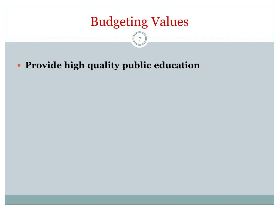 Budgeting Values Provide high quality public education 7