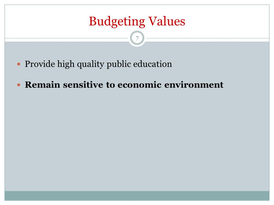 Budgeting Values Provide high quality public education Remain sensitive to economic environment 7