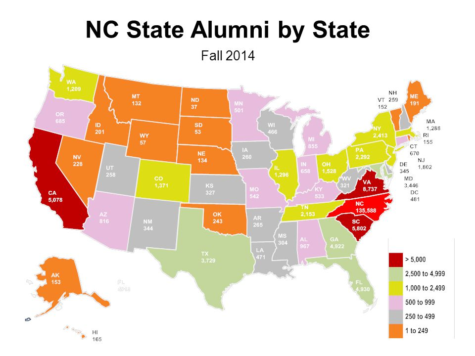 NC State Alumni by State Fall 2014