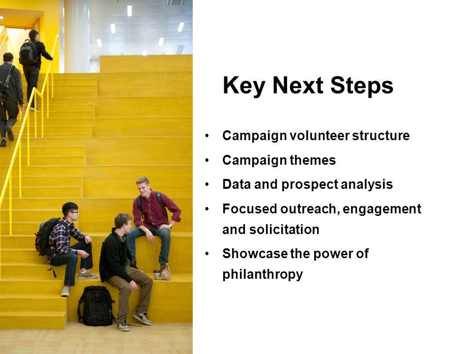 Key Next Steps Campaign volunteer structure Campaign themes Data and prospect analysis Focused outreach, engagement and solicitation Showcase the power of philanthropy