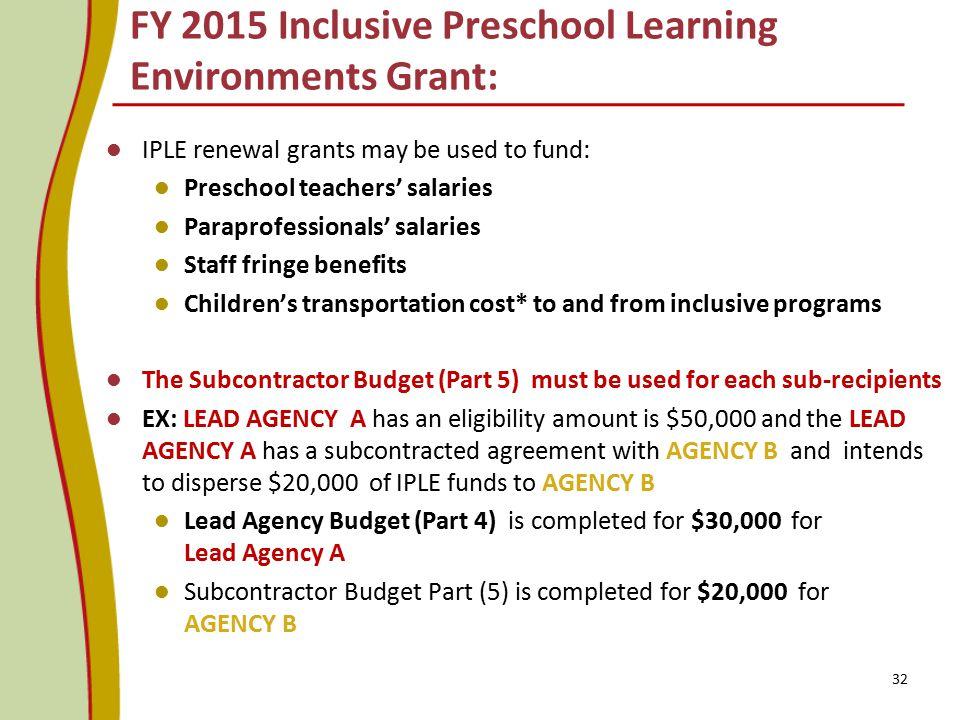 IPLE renewal grants may be used to fund: Preschool teachers' salaries Paraprofessionals' salaries Staff fringe benefits Children's transportation cost