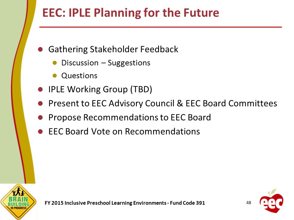 FY 2015 Inclusive Preschool Learning Environments - Fund Code 391 EEC: IPLE Planning for the Future Gathering Stakeholder Feedback Discussion – Sugges