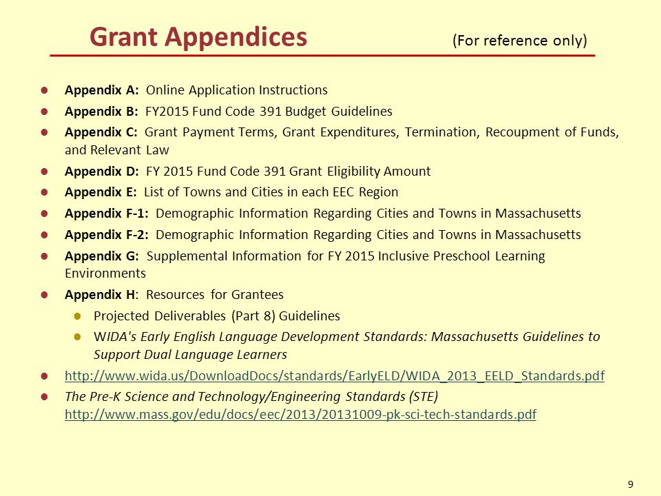 Grant Appendices (For reference only) Appendix A: Online Application Instructions Appendix B: FY2015 Fund Code 391 Budget Guidelines Appendix C: Grant