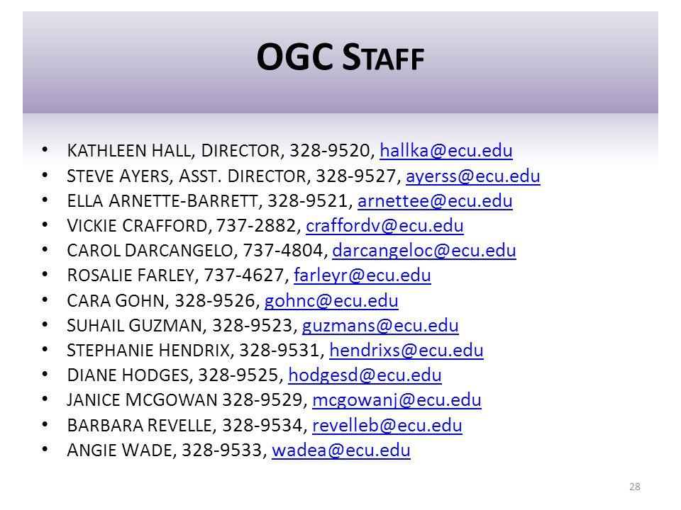 OGC S TAFF K ATHLEEN H ALL, D IRECTOR, 328-9520, hallka@ecu.eduhallka@ecu.edu S TEVE A YERS, A SST. D IRECTOR, 328-9527, ayerss@ecu.eduayerss@ecu.edu