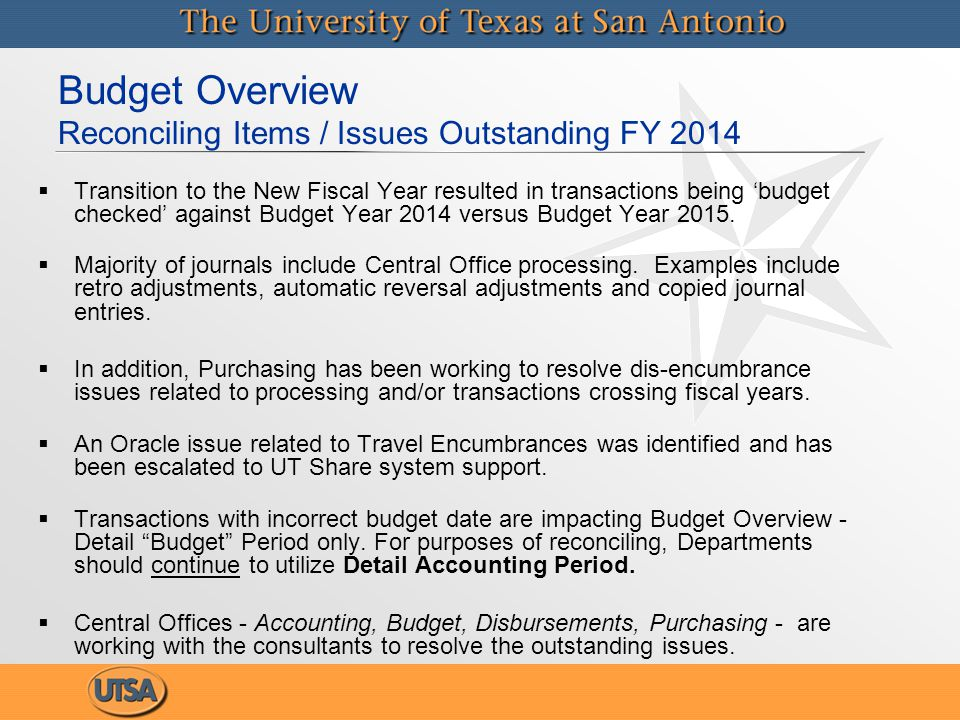 Budget Overview Reconciling Items / Issues Outstanding FY 2014   Transition to the New Fiscal Year resulted in transactions being 'budget checked' against Budget Year 2014 versus Budget Year 2015.