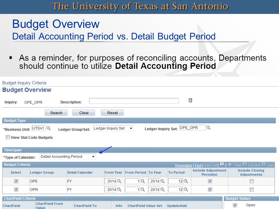 Budget Overview Detail Accounting Period vs. Detail Budget Period   As a reminder, for purposes of reconciling accounts, Departments should continue