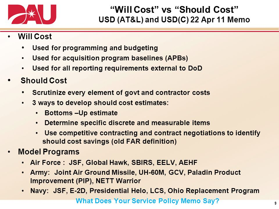 """Will Cost"" vs ""Should Cost"" USD (AT&L) and USD(C) 22 Apr 11 Memo Will Cost Used for programming and budgeting Used for acquisition program baselines"