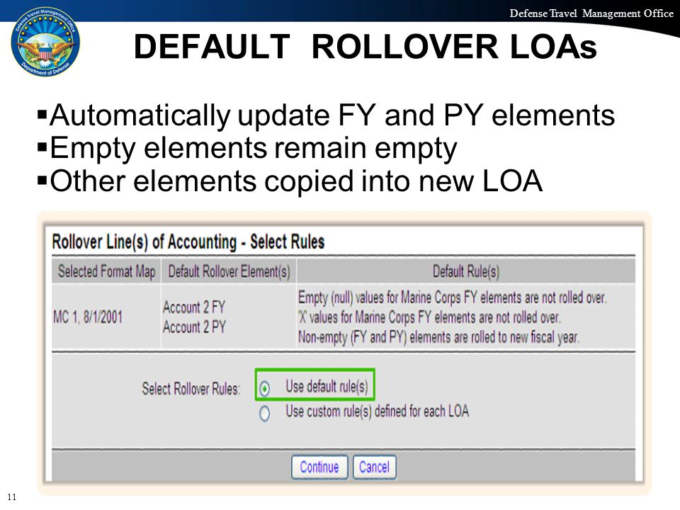 Defense Travel Management Office Office of the Under Secretary of Defense (Personnel and Readiness) DEFAULT ROLLOVER LOAs 11  Automatically update FY