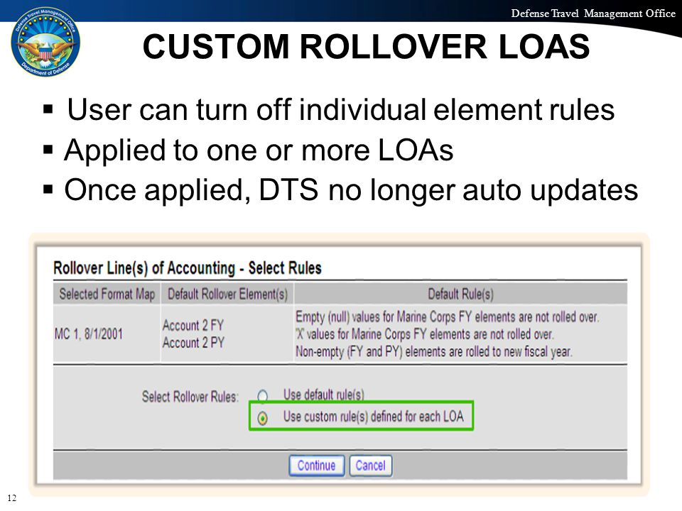 Defense Travel Management Office Office of the Under Secretary of Defense (Personnel and Readiness) CUSTOM ROLLOVER LOAS  User can turn off individua