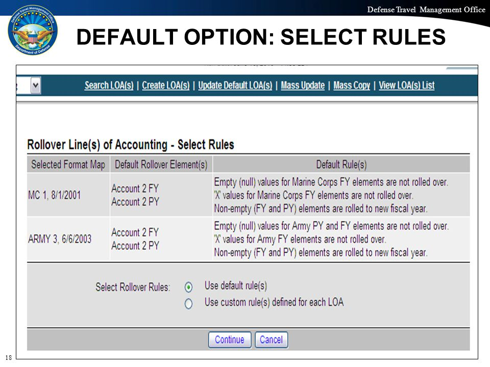 Defense Travel Management Office Office of the Under Secretary of Defense (Personnel and Readiness) DEFAULT OPTION: SELECT RULES 18