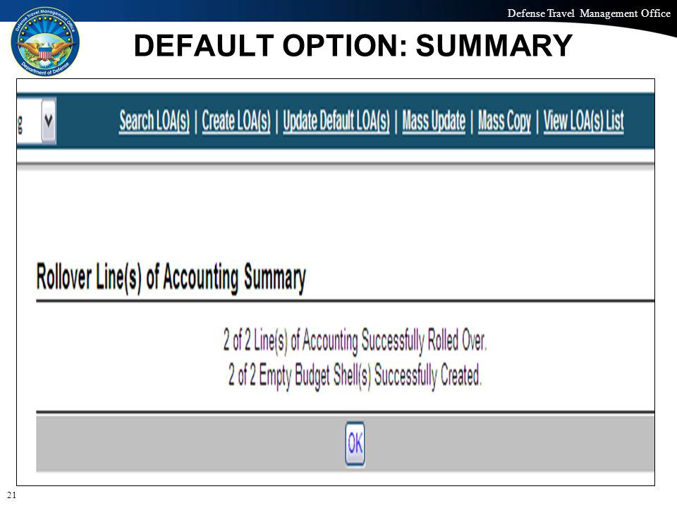 Defense Travel Management Office Office of the Under Secretary of Defense (Personnel and Readiness) DEFAULT OPTION: SUMMARY 21