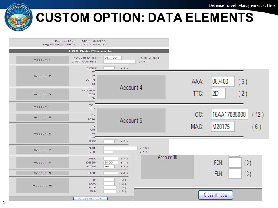 Defense Travel Management Office Office of the Under Secretary of Defense (Personnel and Readiness) CUSTOM OPTION: DATA ELEMENTS 24