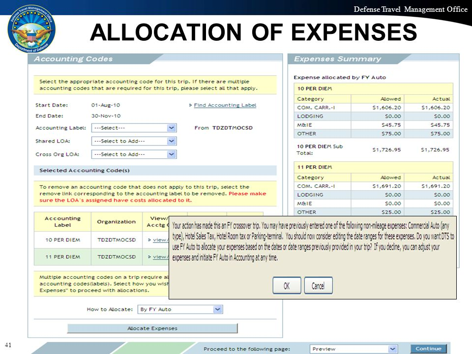 Defense Travel Management Office Office of the Under Secretary of Defense (Personnel and Readiness) ALLOCATION OF EXPENSES 41