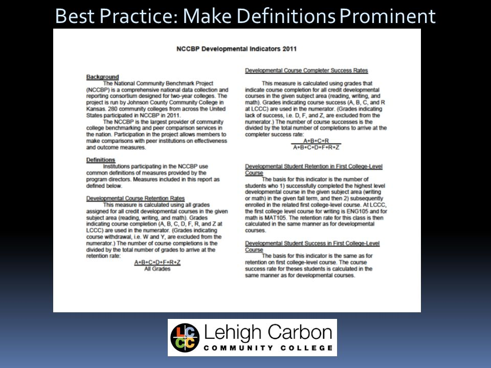 Best Practice: Make Definitions Prominent