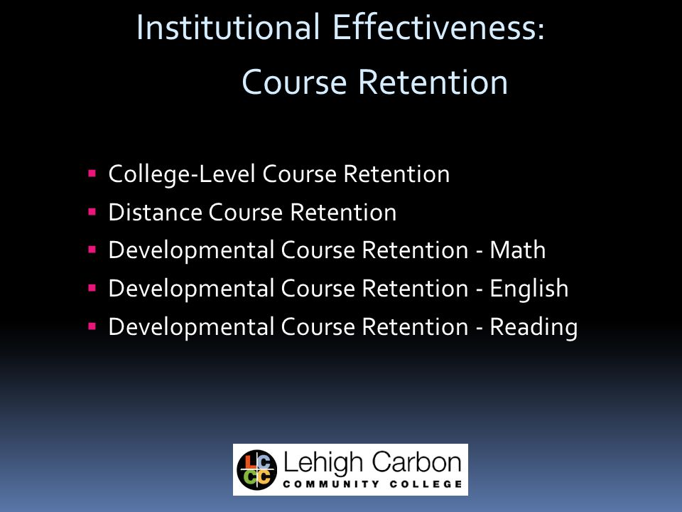 Institutional Effectiveness: Course Retention  College-Level Course Retention  Distance Course Retention  Developmental Course Retention - Math  Developmental Course Retention - English  Developmental Course Retention - Reading