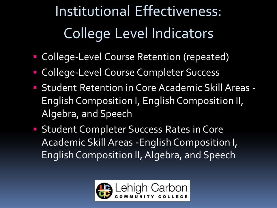 Institutional Effectiveness: College Level Indicators  College-Level Course Retention (repeated)  College-Level Course Completer Success  Student Retention in Core Academic Skill Areas - English Composition I, English Composition II, Algebra, and Speech  Student Completer Success Rates in Core Academic Skill Areas -English Composition I, English Composition II, Algebra, and Speech