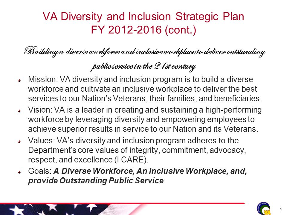 VA Diversity and Inclusion Strategic Plan FY 2012-2016 (cont.) Building a diverse workforce and inclusive workplace to deliver outstanding public service in the 21st century Mission: VA diversity and inclusion program is to build a diverse workforce and cultivate an inclusive workplace to deliver the best services to our Nation's Veterans, their families, and beneficiaries.