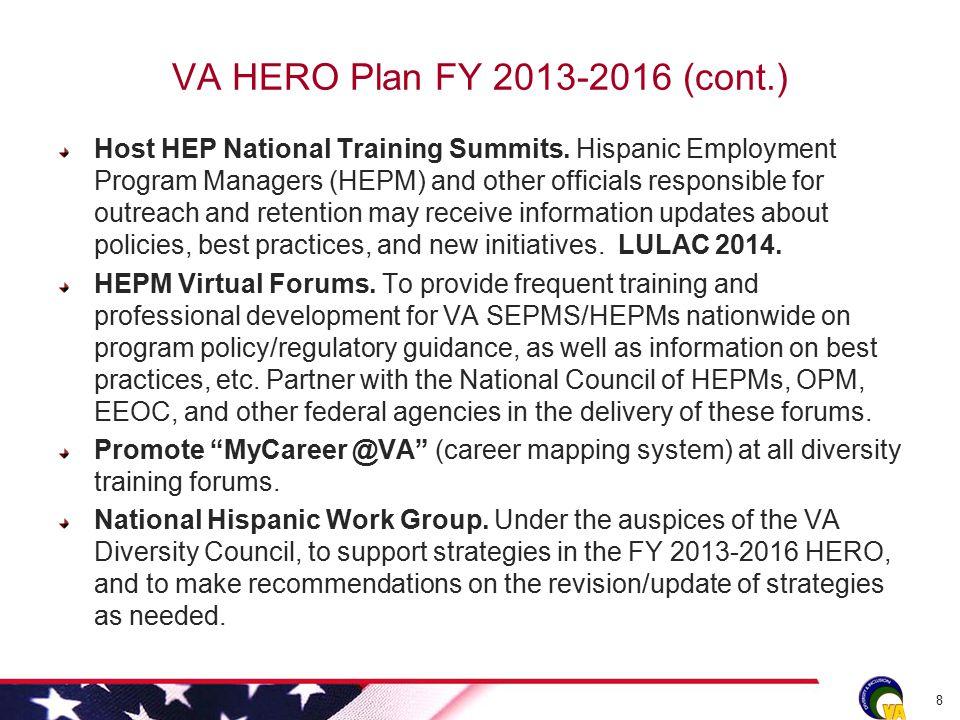 VA HERO Plan FY 2013-2016 (cont.) Host HEP National Training Summits.