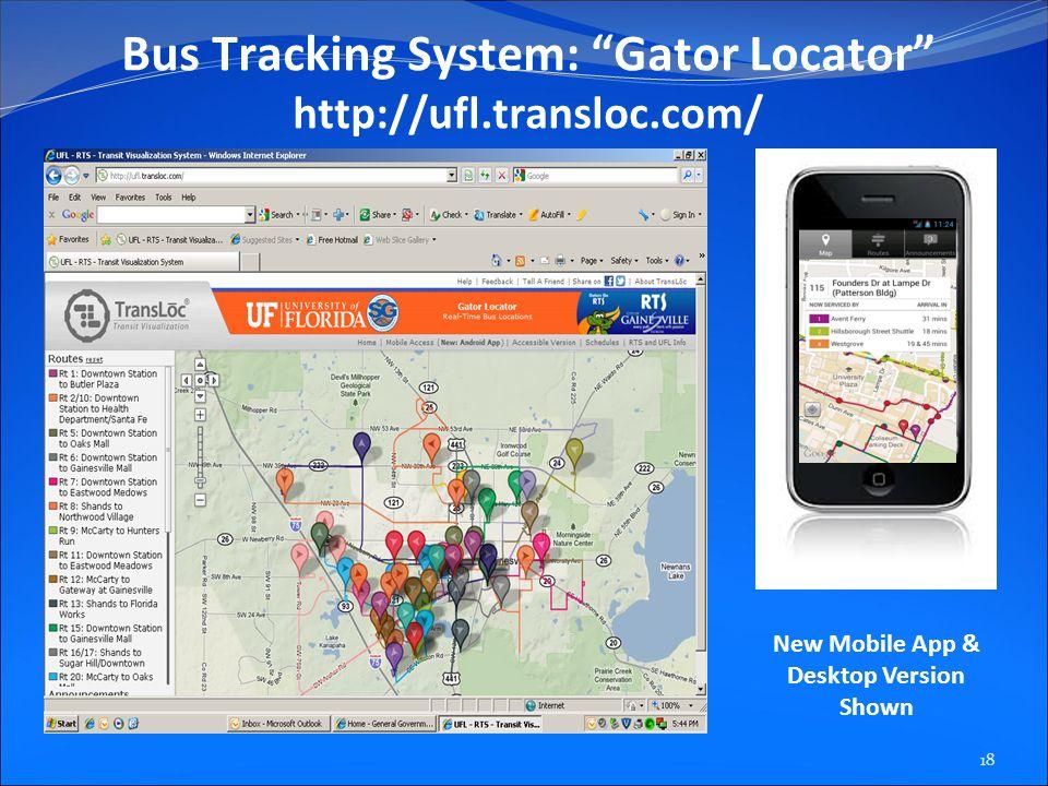 Bus Tracking System: Gator Locator http://ufl.transloc.com/ New Mobile App & Desktop Version Shown 18