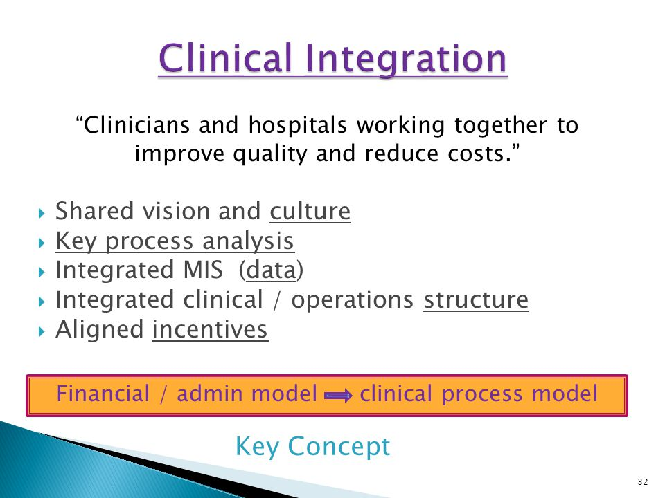 """Financial / admin model clinical process model """"Clinicians and hospitals working together to improve quality and reduce costs.""""  Shared vision and cu"""