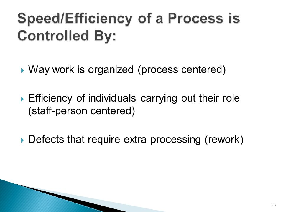  Way work is organized (process centered)  Efficiency of individuals carrying out their role (staff-person centered)  Defects that require extra pr
