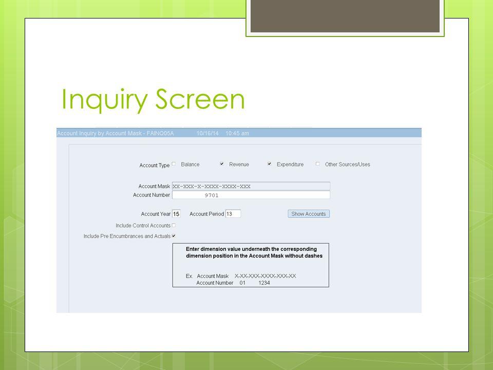 Inquiry Screen