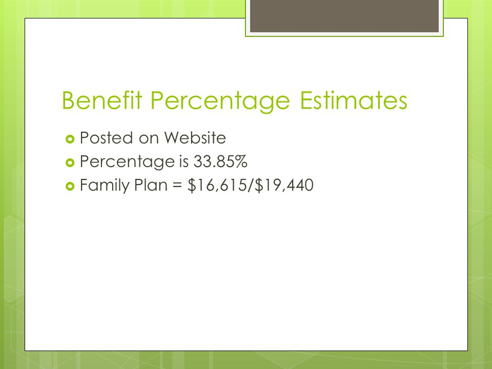 Benefit Percentage Estimates  Posted on Website  Percentage is 33.85%  Family Plan = $16,615/$19,440