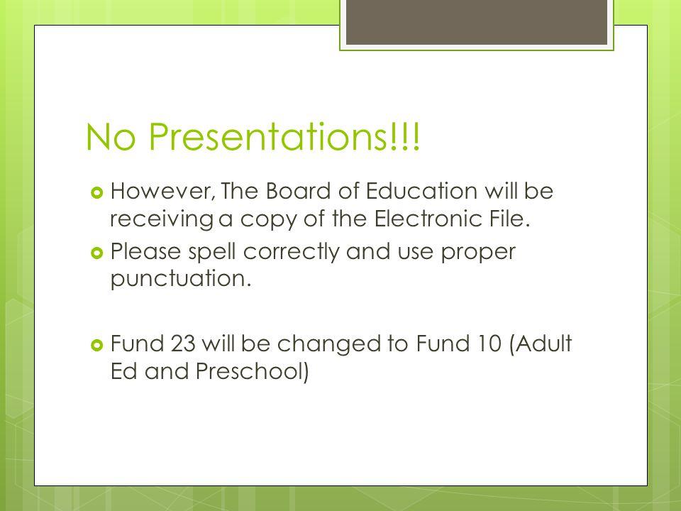 No Presentations!!.