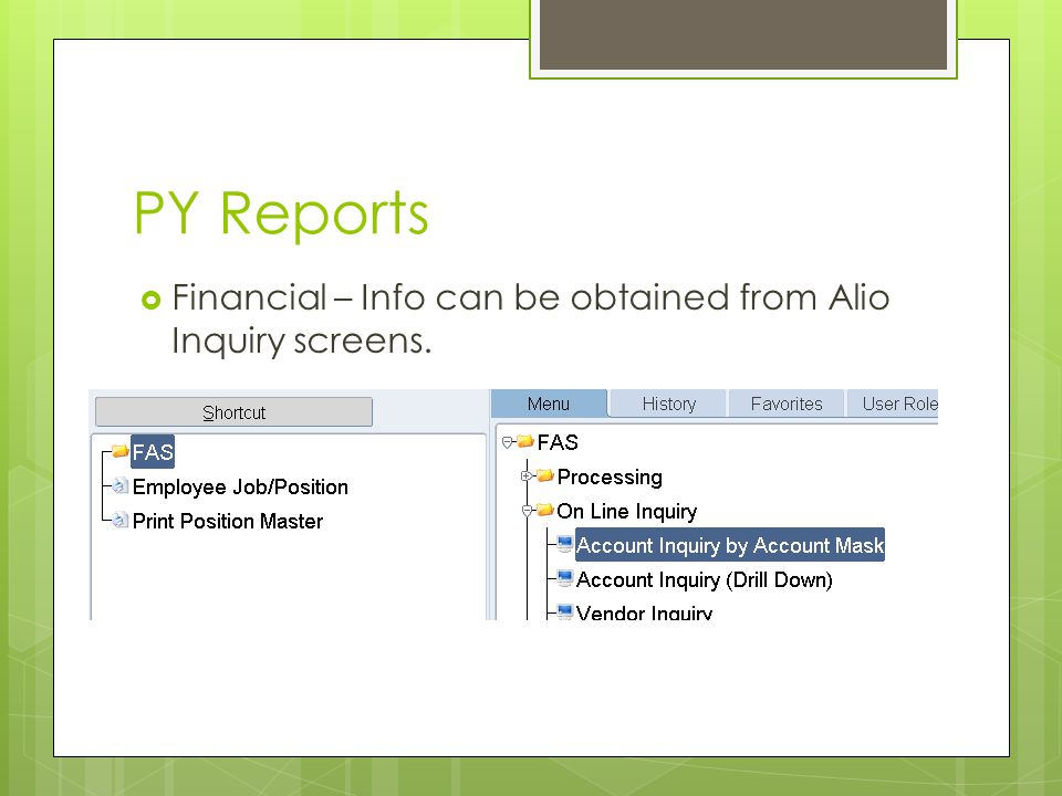 PY Reports  Financial – Info can be obtained from Alio Inquiry screens.